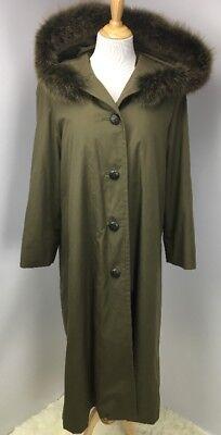 SORBARA NEIMAN MARCUS Real Fur Nutria Norwegian Blue Fox Olive Rain-Coat Jacket