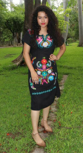 Handmade Womens Floral Embroidered Mexican Dress - Size Medium or XL - Fiesta