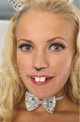 Black Animal Whiskers Cat Bunny Dog Animal Accessory No Glue Halloween Costume](Cat Whiskers Costume)