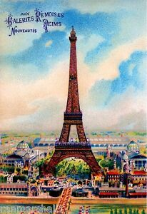 Paris France French Eiffel Tower Vintage European Travel Poster Advertisement