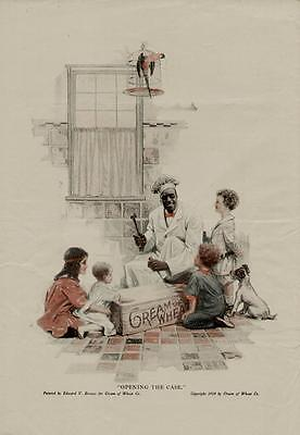 """1918 CREAM OF WHEAT AD / """"OPENING THE CASE"""" ARTISTS: EDWARD V. BREWER"""