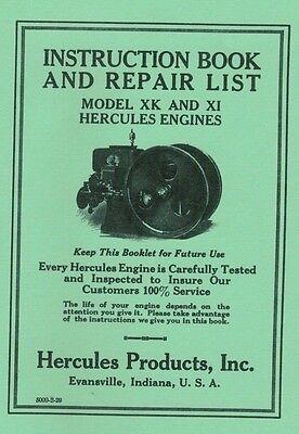 Hercules Model XK XI Engine Instruction Repair Book Gas Motor Flywheel
