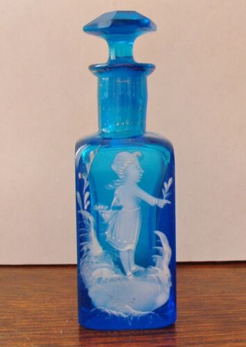 ANTIQUE MARY GREGORY ENAMEL TURQUOISE BLUE PERFUME SCENT BOTTLE WITH STOPPER