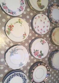 Job lot 55 x mix match vintage china plates - small side plates - tea party, wedding, vintage events