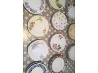 Job lot 55 x mix match vintage china plates - small side plates - tea party, wedding, vintage events