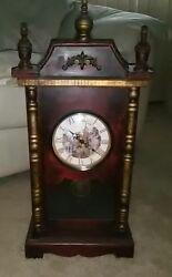 Tabletop Wood Grandfather Clock w/ Pendulum * Brand New! * Quartz Movement