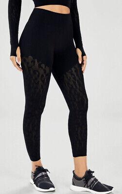 Fabletics Mid-Rise Sculpt Knit XXS/XS Black Leopard Print Leggings