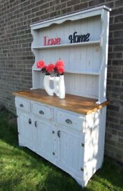 Stunning Shabby Chic Grey 4 Foot Pine Dresser Large - Uk Delivery