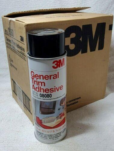 6 CANS 3M GENERAL TRIM ADHESIVE 16 3/4 oz SPRAY 08080