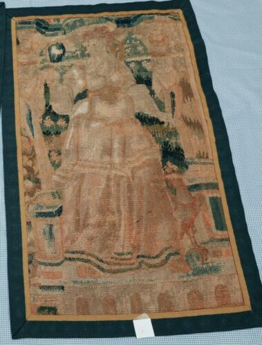 """18th c. Aubusson Hand Loomed Tapestry Wall Hanging 35"""" x 21.25""""  #2"""