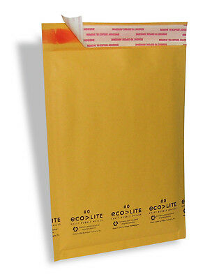250 #0 6.5X10 Ecolite X- Wide Kraft Bubble Mailers Padded Envelopes Bags CD DVD