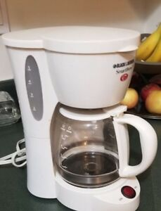 Black & Decker  5-cup coffee maker in white.