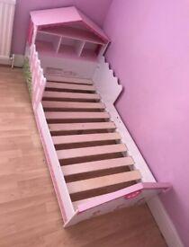 Girls toddler dollhouse bed