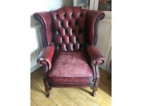 Oxblood red Queen Anne vintage chesterfield chair