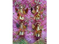 CHRISTMAS Gold Angels Set 4 Musical Instruments Harp: Decorations Tableware Ornaments Figurines