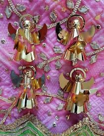 CHRISTMAS ANGELS Gold Set x 4 Musical Instruments Decorations Tableware Ornaments Collectors Festive