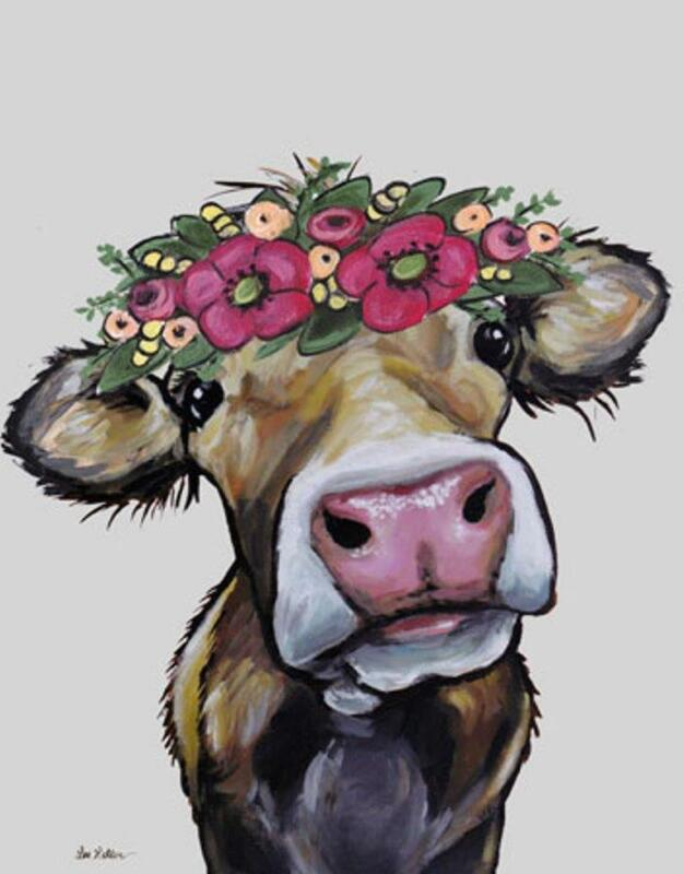 NEW Cute Hazel The Cow Flowers On Her Head Tin Metal Sign Made In The USA