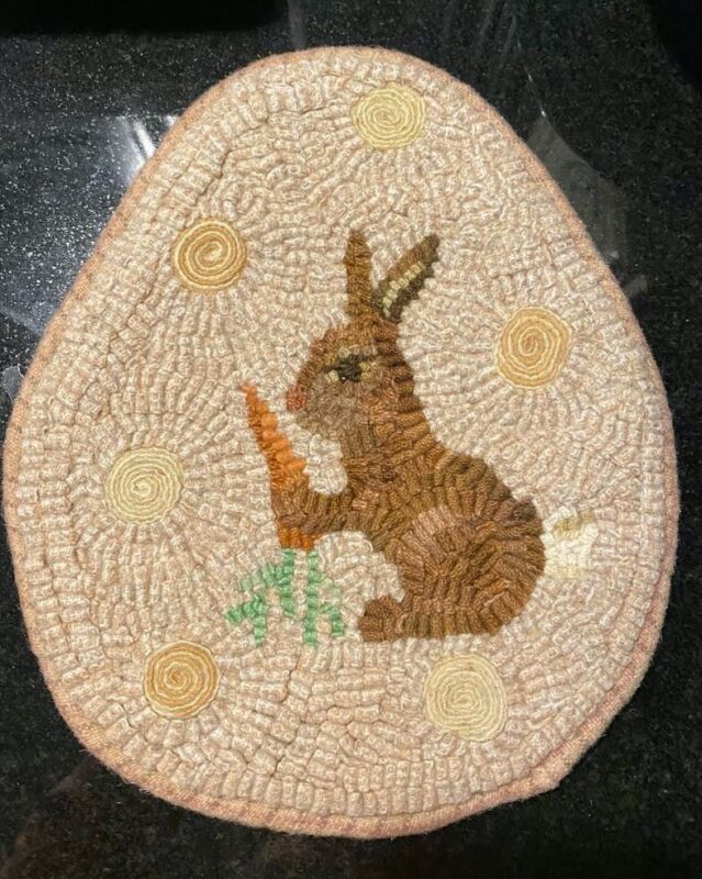 Hand Hooked Wool Rug, Olde Spotted Egg by Kimberly Edgerly