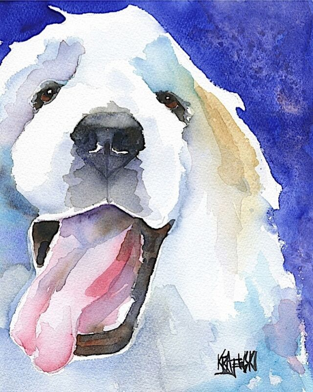 Great Pyrenees Dog Art Print Signed by Artist Ron Krajewski Painting 8x10