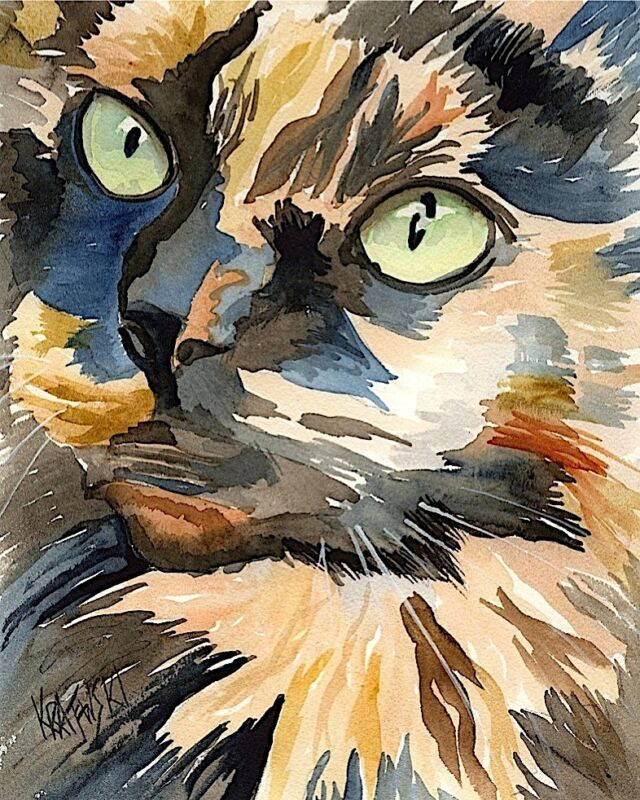 Calico Cat Gifts | Cat Art Print from Painting | Poster, Picture, Mom, Dad 11x14
