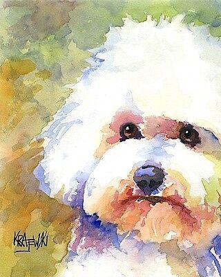 Bichon Frise Dog Art Print Signed by Artist Ron Krajewski 8x10 Bichon Frise Dog Art