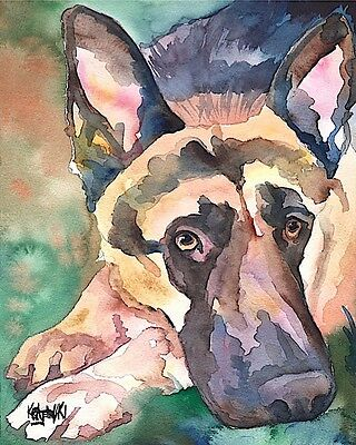 German Shepherd Art Print Signed by Artist Ron Krajewski 8x10