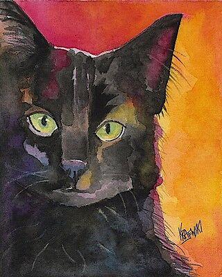 Black Cat 11x14 signed art PRINT from painting RJK