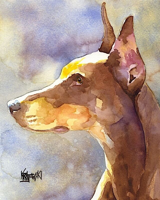 Doberman Pinscher Art from Painting | Dobie Gifts, Poster, Picture, Mom, 8x10