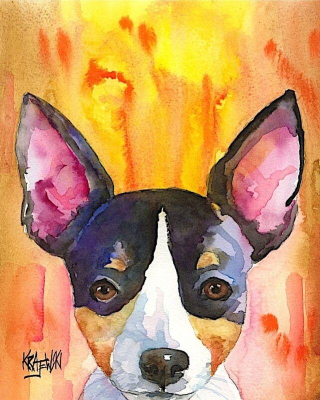 Rat Terrier Dog 11x14 signed art PRINT RJK painting