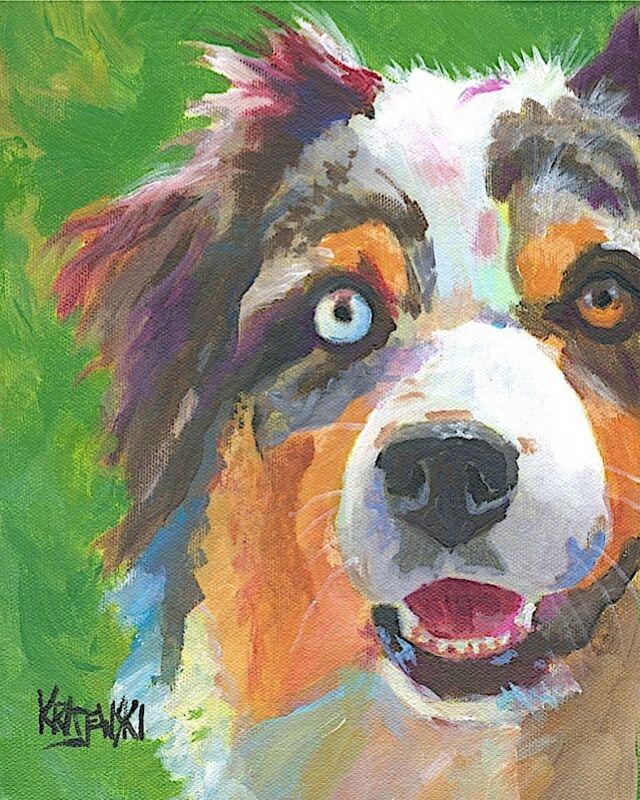 Australian Shepherd Dog Art Print Signed by Artist Ron Krajewski 8x10