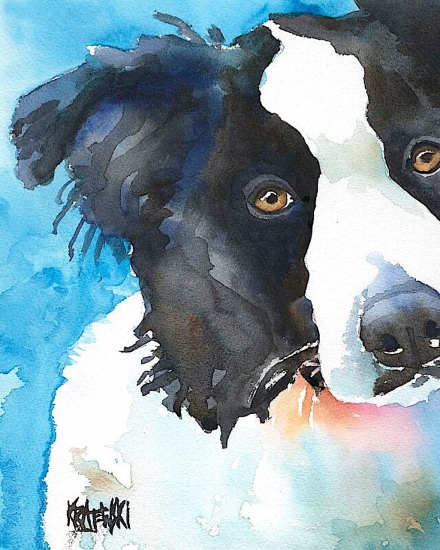 Border Collie Art Print from Painting | Gifts, Poster, Picture, Mom, Dad 8x10