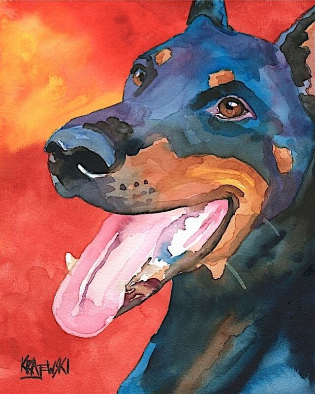 Doberman Pinscher Art from Painting | Dobie Gifts, Poster, Picture, Dad, 8x10