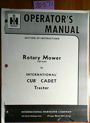 Ih International Harvester 38 Rotary Mower Cub Cadet Tractor Operator Manual
