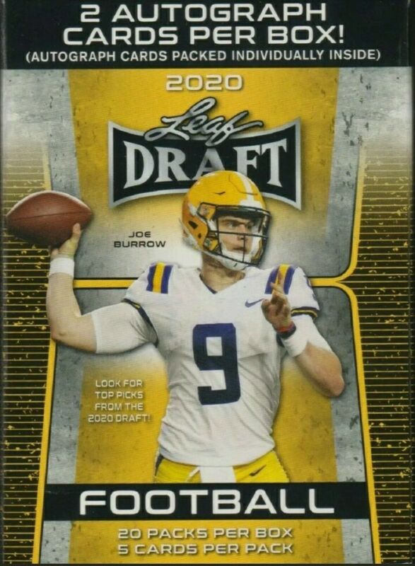 New 2020 Nfl Leaf Draft Football - Sealed/unopened Pack(s) 5ct/pack, 2 Auto/box!