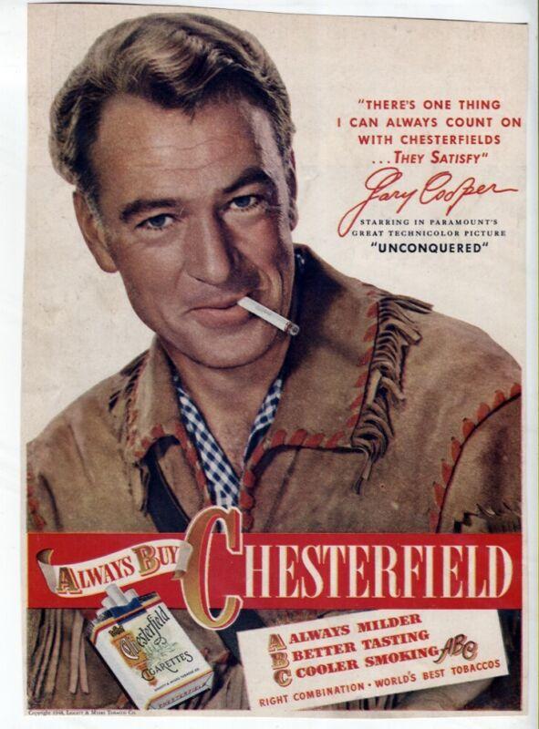 Vtg 40s Chesterfield Cigarettes Ad Gary Cooper Classic Movie Star Magazine AD