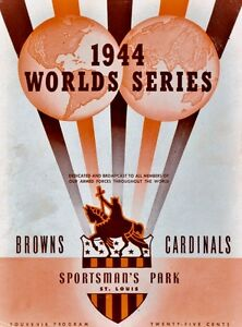 1944 WORLD SERIES PROGRAM PHOTO CARDINALS VS  ST LOUIS BROWNS CARDS WIN  8x10