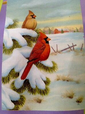 24x36 Winter Cardinal Snow Farm  Christmas Holiday Large  FLAG
