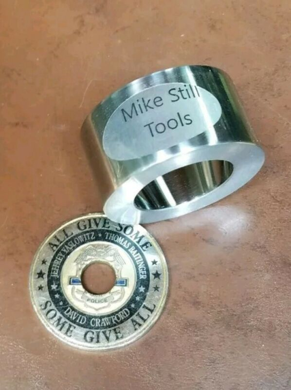 """1.75"""" COIN RING MAKING TOOLS 20 DEGREE REDUCTION, FOLD OVER DIE CHALLENGE COINS"""