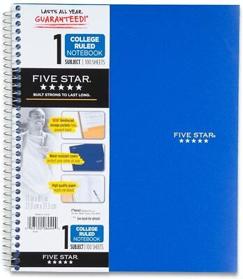 Five Star College Ruled Paper Notebook- 100 Sheets11 X 8.5 Inch Sheet Size New