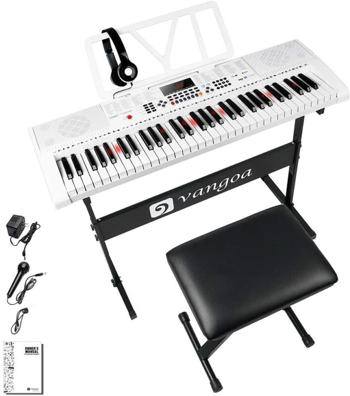 Vangoa VGK6101 61 Lighted Full-size Keys Electric Piano Keyboard with Stand