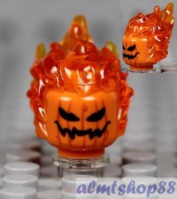 LEGO - Jack O' Lantern Flaming Head w/ Orange Hair Modified Halloween Minifigure
