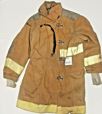 42x33 Janesville Lion Firefighter Brown Turnout Jacket Coat W Yellow Tape J870