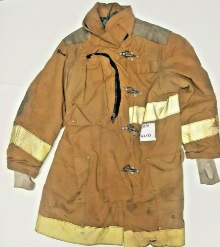 42x33 Janesville Lion Firefighter Brown Turnout Jacket Coat w/ Yellow Tape J870