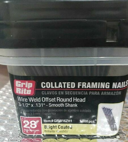 GRW16ZH1 GRIP RITE COLLATED FRAMING NAILS WIRE WELD ROUND HEAD 3-1/2