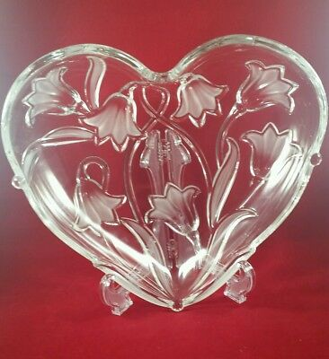 MIKASA CRYSTAL HEART SHAPED BOWL CLEAR HEAVY with FROSTED BLUEBELL FLOWERS EXC. Crystal Heart Bowl