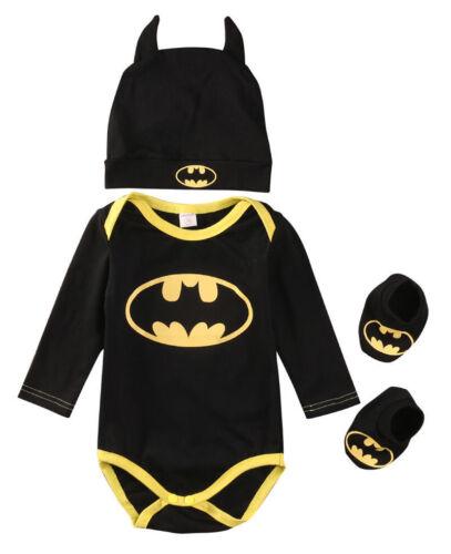 Baby Batman Overall Jungen Bodysuit Strampler + Hut +Schuhe Outfit Set Kostüm DE