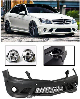 AMG Style W/ PDC Front Bumper Cover + Fog Lights For 08-11 MB W204 C-Class Sedan