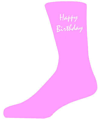 Happy Birthday in White Text on Light Pink Socks, Perfect Birthday Gift (Happy Birthday In Lights)