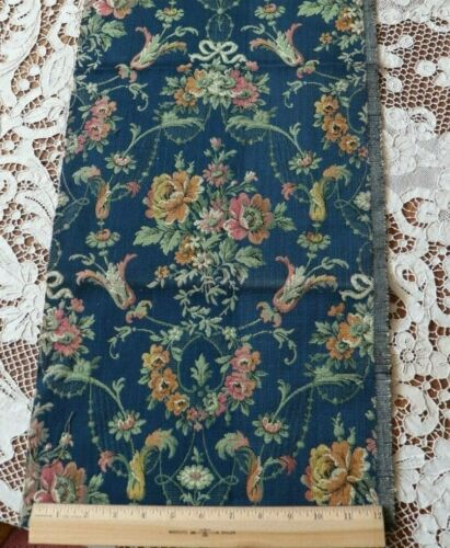 "Vivid Dark Blue French Vintage Antique Jacquard Tapestry Fabric~Roses~36""X12"""