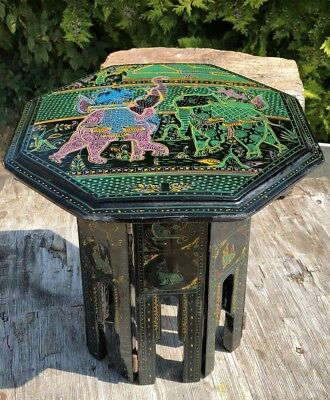 VINTAGE ANTIQUE SMALL CHINESE PAINTED WOODEN FOLD UP TABLE *